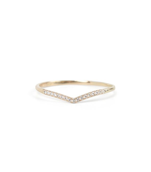 Catbird Wedding Fairy Light, Curved, Demi-Pavé Band