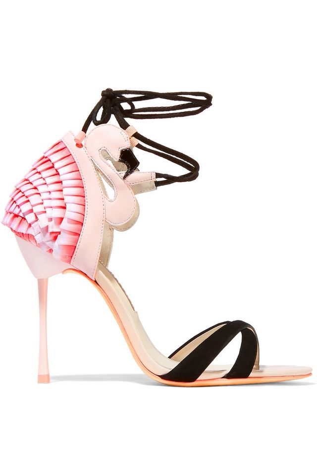 Sophia Webster Flamingo Frill Leather, Satin, and Suede Sandals
