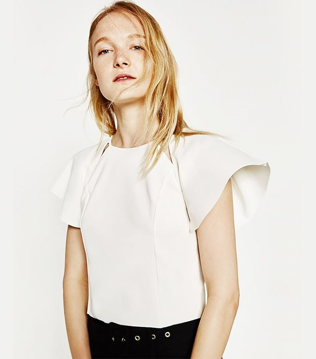Zara Top With Frilled Sleeves