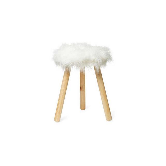 Design House Faux Lamb Fur Stool