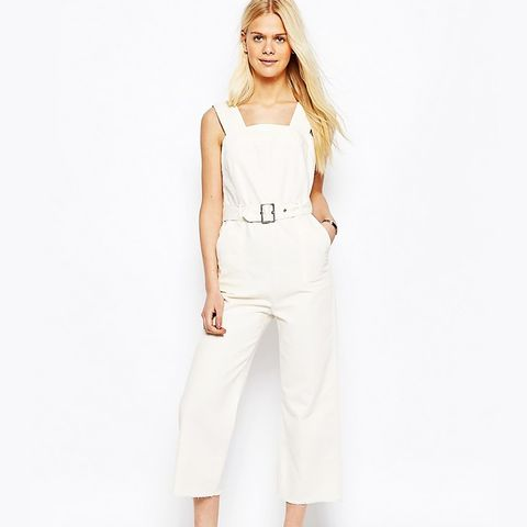 Denim Jumpsuit in Off White