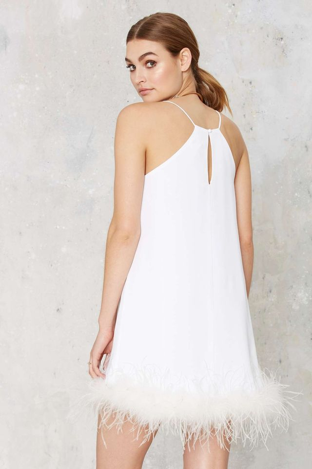 Nasty Gal Time After Time Feather Trim Mini Dress
