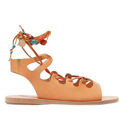 Antigone Embellished Lace-Up Leather Sandals