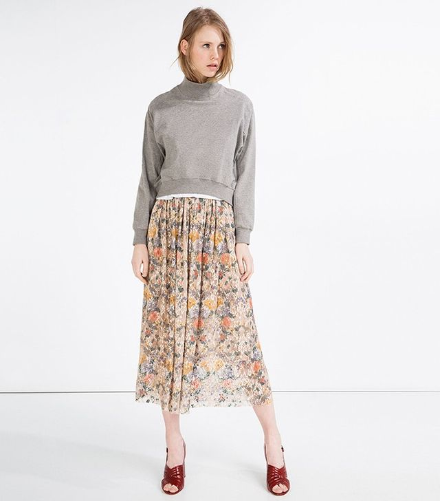 Zara Full Printed Lace Skirt