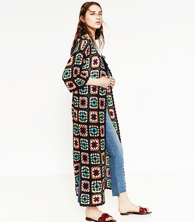 Zara Patchwork Crochet Coat