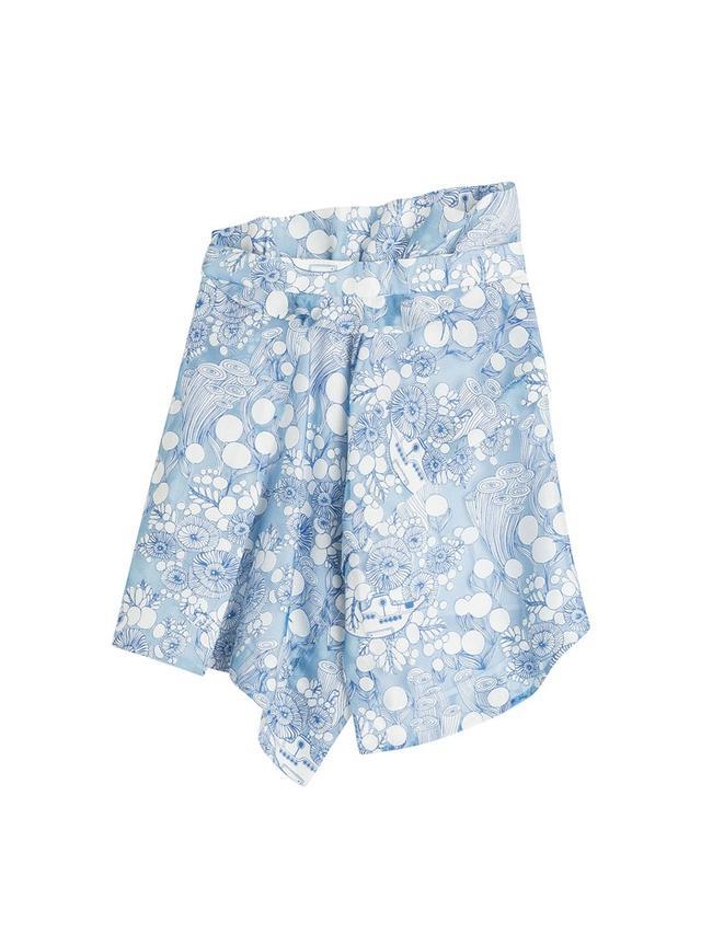 Carven Asymmetric Print Skirt with Linen