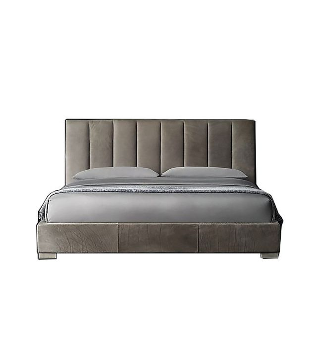 tufted furniture trend. rh modern leather platform bed tufted furniture trend