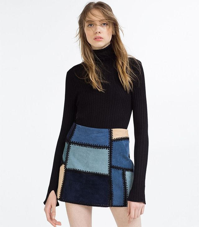 Zara Leather Patchwork Mini Skirt