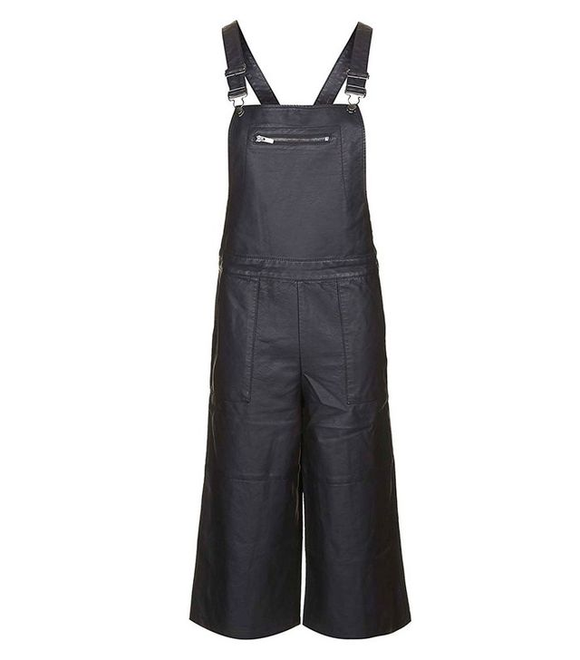 Topshop Faux Leather Culotte Overalls