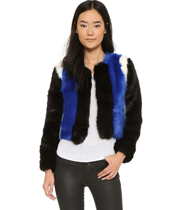 Line and Dot Colorblock Faux Fur Jacket