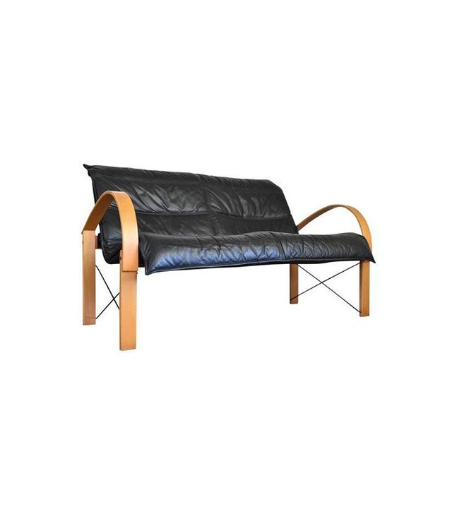 Vintage Vintage Italian Bentwood Leather Sling Sofa