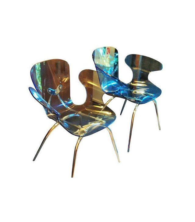 Vintage Blue Acrylic & Silver Metal Lounge Chair