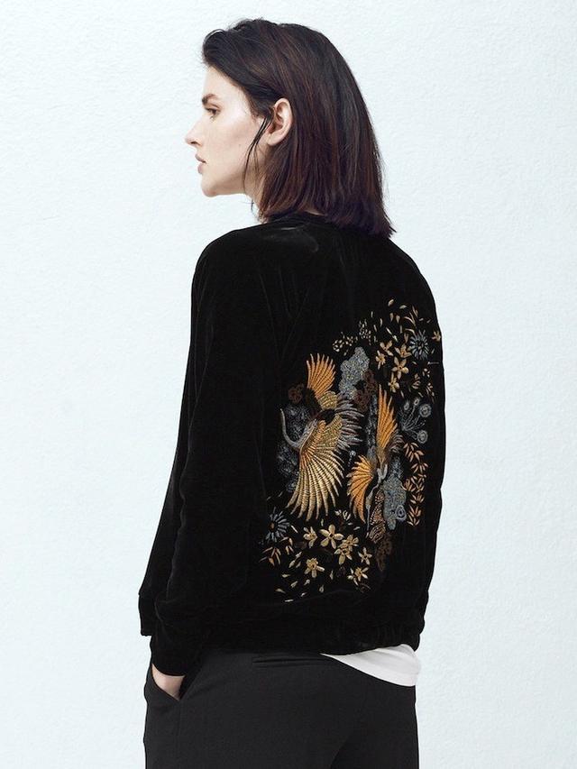 Mango Embroidered Velvet Bomber Jacket