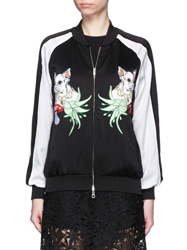 Helen Lee French Bulldog Appliqué Silk Bomber Jacket