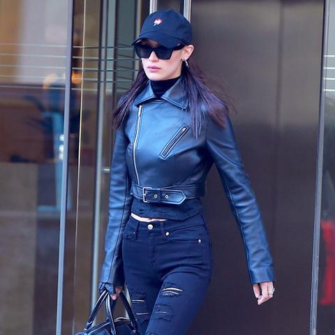 Bella Hadid style: black Good American jeans