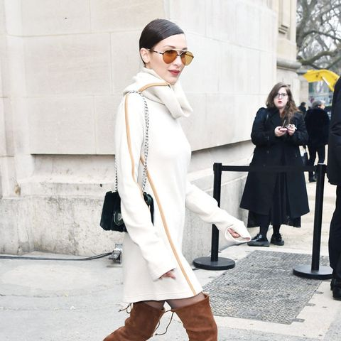 Bella Hadid style: thigh high suede boots