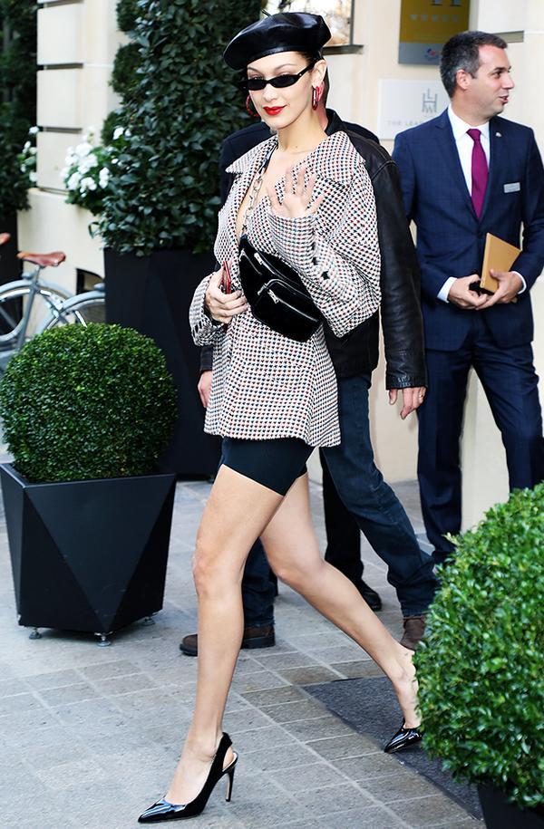 Bella Hadid style: in Dior and commando shorts