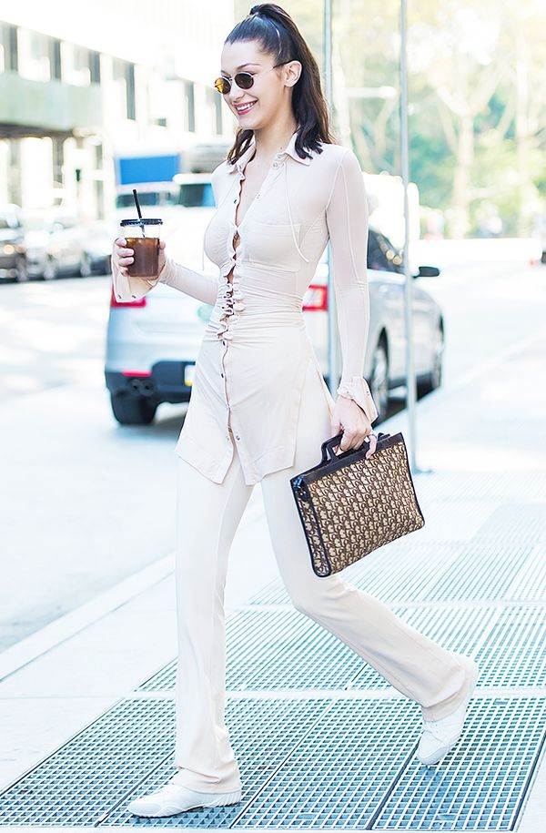 Bella Hadid style: casual co-ord with trainers and vintage Dior bag