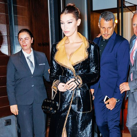 Bella Hadid style: leather Chanel trench and bag