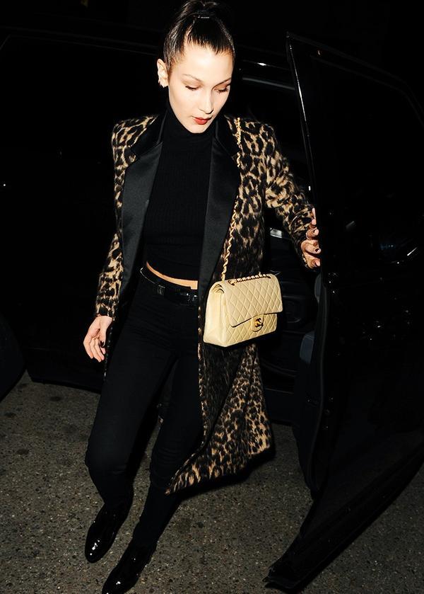 Bella Hadid style: Leopard-print coat