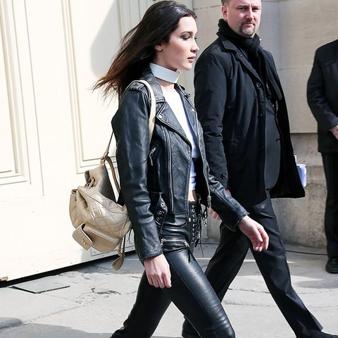 Bella Hadid style: leather jacket and leather trousers