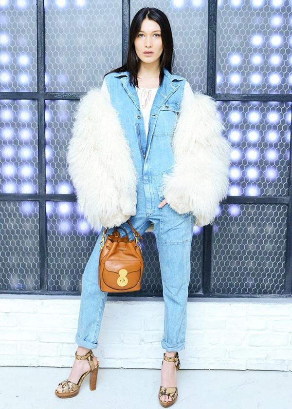 Bella Hadid style: Denim jumpsuit