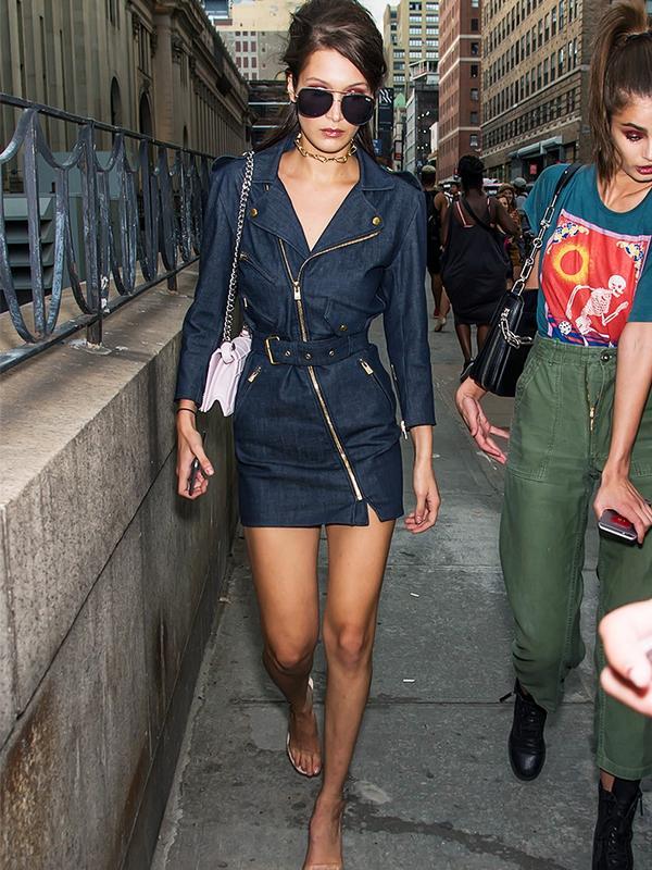 Bella Hadid style: in a denim mini dress