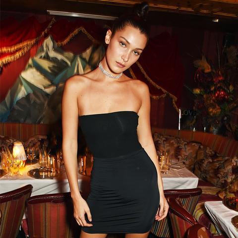 Bella Hadid style: a black mini dress