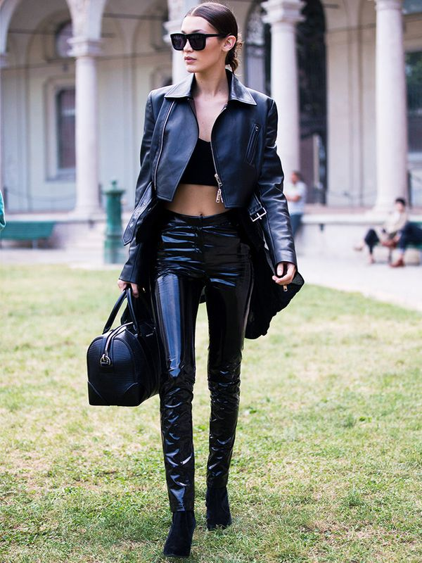 Bella Hadid style: All-black outfit, including leather jacket and vinyl trousers