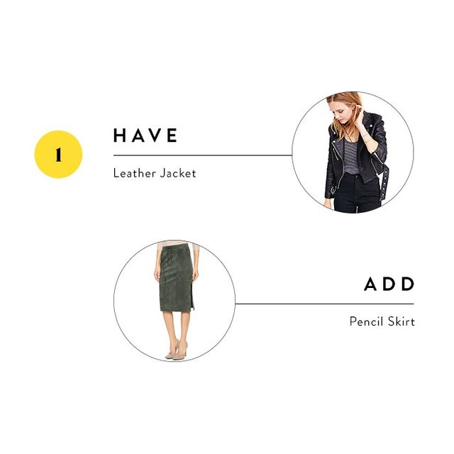 You already have a cool leather jacket in your closet, and while pairing it with jeans might be your go-to look, give it a fresh spin by balancing it out with a feminine pencil skirt.