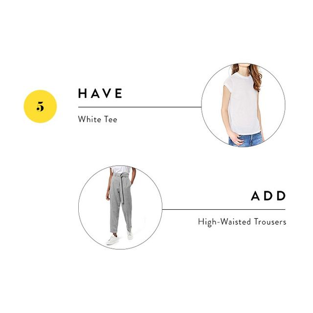 If you've shied away from adding trousers to your wardrobe, now is the time! Styling them with a simple white tee keeps them from feeling stuffy and utilizes what you already own.