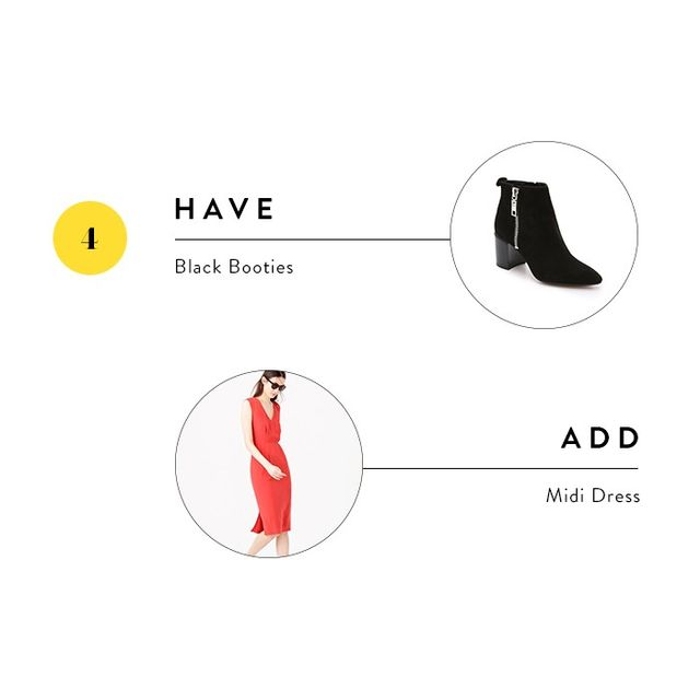 A great pair of booties can essentially be styledwith anything, so take them from party staple to office go-to by wearingthem with a feminine midi dress.