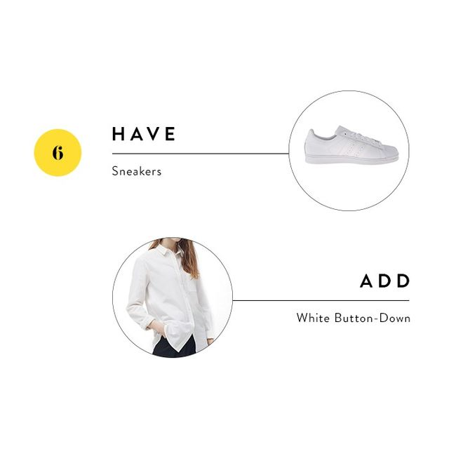 While sneakers might not fly inevery office setting, the trick to making them work is to pair them with more conservative ensembles. Choose a classic white button-down for a polished choice.
