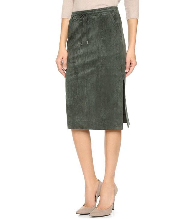 BCBGMaxAzria Faux Suede Drawstring Skirt