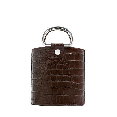 Mock-Croc Mini Bucket Bag