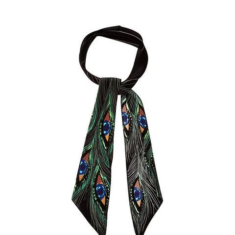 Peacock Eyes-Print Super-Skinny Silk Scarf