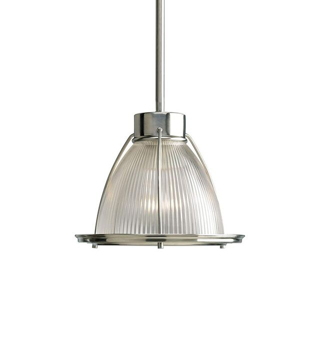 Progress Lighting Brushed Nickel Light Pendant With Prism Glass Shade
