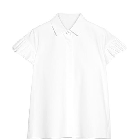 Ruffled Silk-Satin Trimmed Cotton-Poplin Top