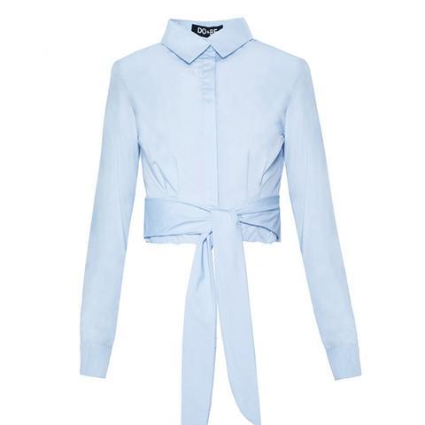Light Blue Waist Tie Crop Shirt