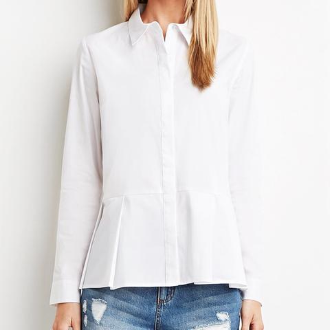 Contemporary Collared Peplum Shirt
