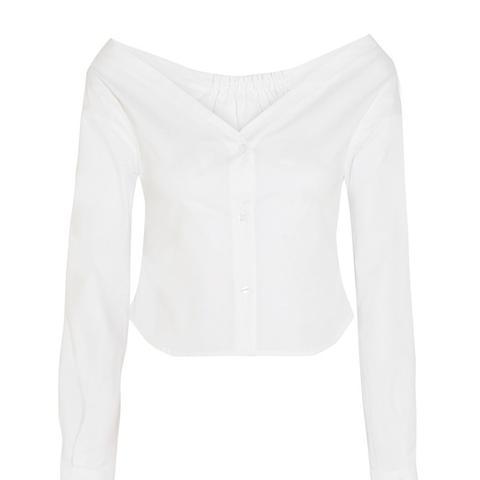 Off-the-Shoulder Stretch-Cotton Poplin Blouse