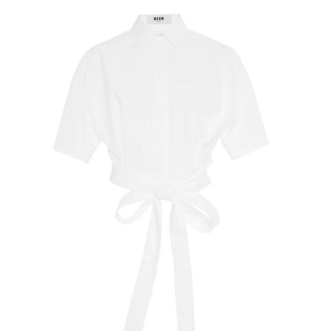 Cropped Tie Waist Cotton Shirt