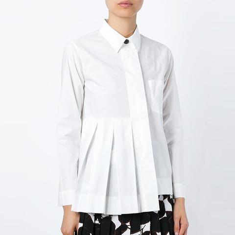 Pleated Detail Asymmetric Shirt