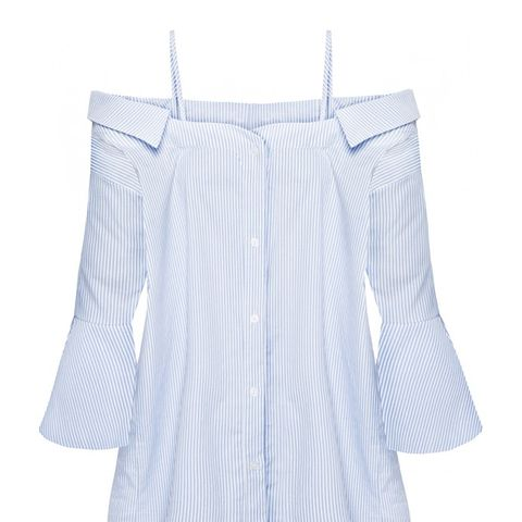 Strappy Off the Shoulder Stripe Cotton Shirt