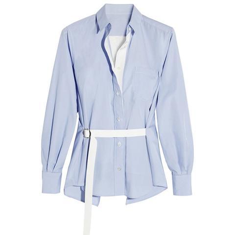 Satin-Paneled Poplin Shirt