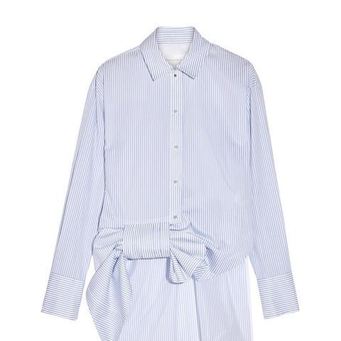 Bow-Embellished Striped Cotton-Poplin Shirt