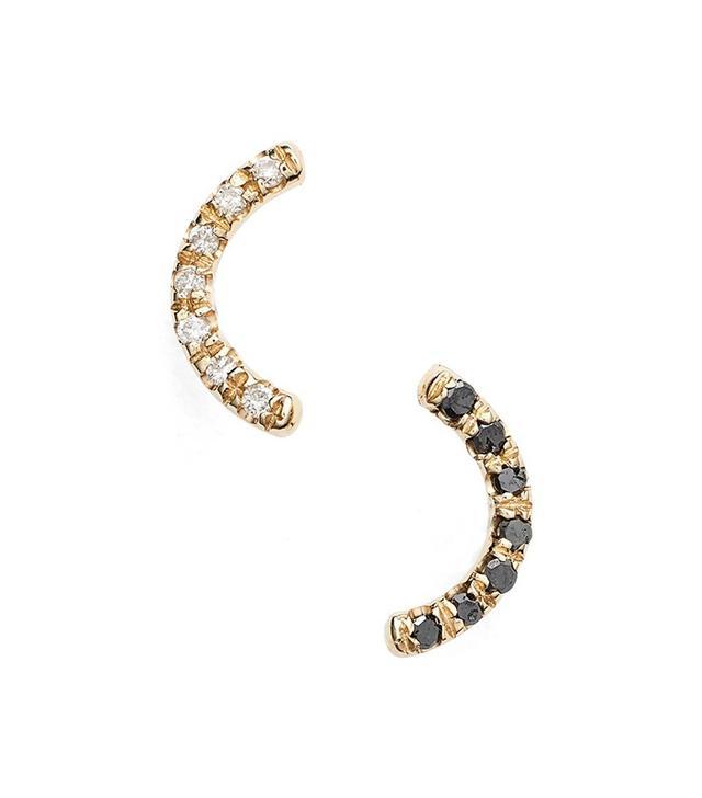 WWAKE Micropave Arc Diamond Earrings