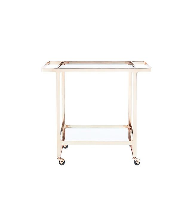 CB2 Dolce Vita Rose Gold Bar Cart