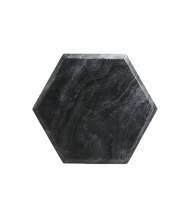 CB2 Hex Black Marble Board