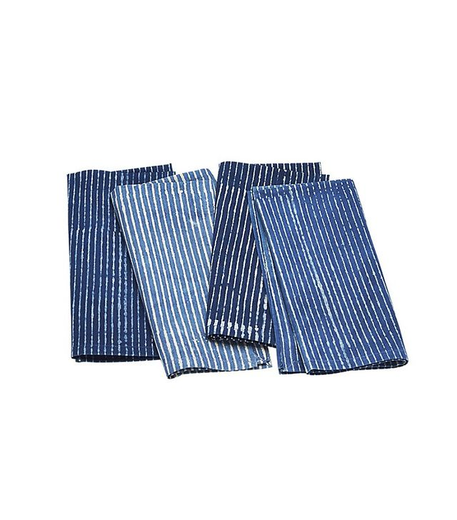CB2 Set of 4 Indigo Stripe Napkins